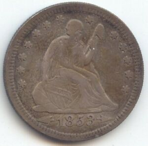 1853 ARROWS AND RAYS SEATED LIBERTY QUARTER VF XF DETAILS