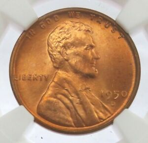 1950 D LINCOLN WHEAT CENT COIN NGC MINT STATE 66 RED