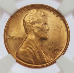 1947 D LINCOLN WHEAT CENT COIN NGC MINT STATE 66 RED