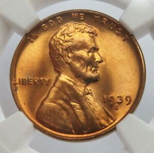 1939 S LINCOLN WHEAT CENT COIN NGC MINT STATE 66 RED