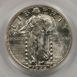 1928 S STANDING LIBERTY 25C PCGS CAC CERTIFIED MS66 66 OLD GREEN LABEL HOLDER