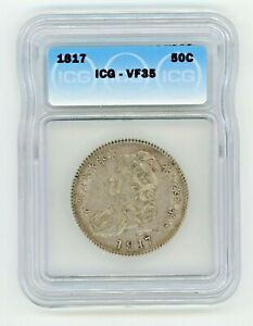 1817 CAPPED BUST LETTERED EDGE HALF DOLLAR CERTIFIED ICG VF 35