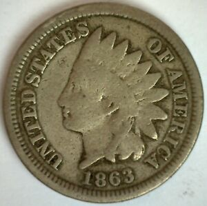 1863 INDIAN HEAD CENT 1C US PENNY COIN GOOD COPPER NICKEL PHILADELPHIA MINTED