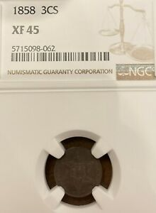 1858 THREE CENT SILVER  TRIME   XF 45 NGC