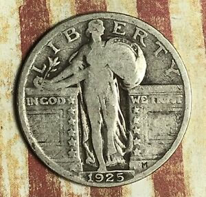1925 STANDING LIBERTY SILVER QUARTER. COLLECTOR COIN FOR YOUR COLLECTION.