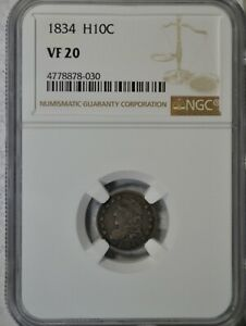1834 CAPPED BUST HALF DIME NGC VF20
