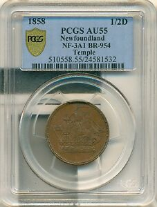 Click now to see the BUY IT NOW Price! 1858 NEWFOUNDLAND SHIP NF 3A1 BR954 PCGS AU55