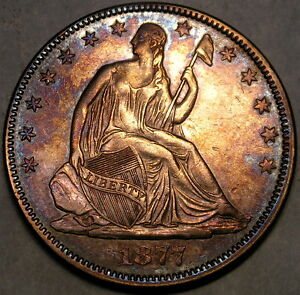 Click now to see the BUY IT NOW Price! 1877/6 LIBERTY SEATED 50C EBAY'S ONLY WB107 EXAMPLE MAGNIFICENTLY TONED RARITY