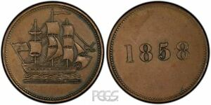 Click now to see the BUY IT NOW Price! NEWFOUNDLAND SHIP TOKEN 1858 NF 3A1 PCGS AU58