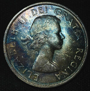 Click now to see the BUY IT NOW Price! CANADA 1 DOLLAR 1962 UNC/BU SILVER KM54 BEAUTIFUL RAINBOW OBVERSE $1 ELIZABETH.