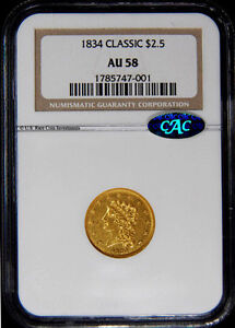 Click now to see the BUY IT NOW Price! 1834 QUARTER EAGLE   1834 $2.50 NGC AU58 CAC