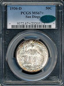 Click now to see the BUY IT NOW Price! 1936 D SAN DIEGO COMMEMORATIVE HALF DOLLAR PCGS MS67  / CAC