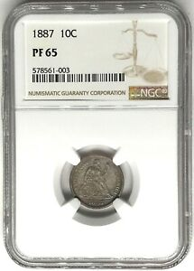 Click now to see the BUY IT NOW Price! 1887 LIBERTY SEATED DIME NGC PF65   PROOF 10C  578561 003