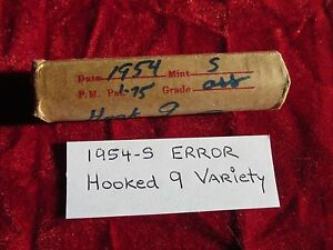 1954 S LINCOLN CENT ROLL ERROR COINS HOOKED 9 VARIETY 50 CIRCULATED CENTS