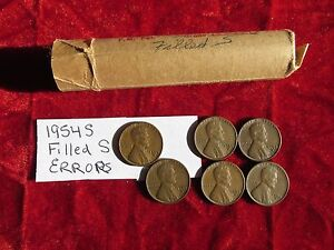 1954 S LINCOLN CENT ROLL ERROR COINS FILLED S IN DATE 50 CIRCULATED CENTS