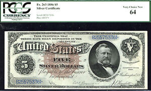 Click now to see the BUY IT NOW Price! 1886 $5 FR 263 LARGE SIZE SILVER SILVER DOLLAR NOTE PCGS 64