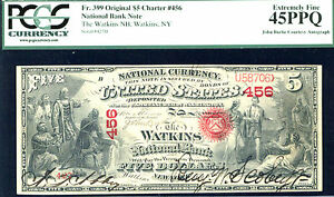 Click now to see the BUY IT NOW Price! 1875 $5 FR 399 $5 NBN CHARTER  399  NATIONAL WATKINS NY PCGS 45PPQ