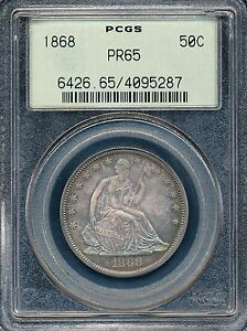 Click now to see the BUY IT NOW Price! 1868 SEATED LIBERTY HALF DOLLAR PROOF  OGH  PCGS PR65