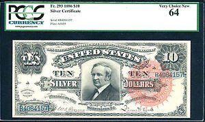 Click now to see the BUY IT NOW Price! 1886 $10 SC FR  293 FINEST KNOWN    PCGS 64 ONLY 2 IN THIS GRADE POP