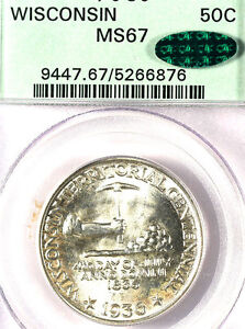 Click now to see the BUY IT NOW Price! 1936 50C WISCONSIN MS67 PCGS/CAC ONLY 93 FINER MINTAGE 25 015 SILVER COMMEMORA
