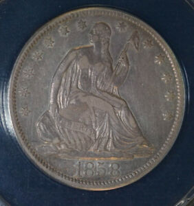 Click now to see the BUY IT NOW Price! 50C HALF DOLLAR 1858 EF40 ANACS WB109 R8 SEATED LIBERTY SEE DESCRIPTION