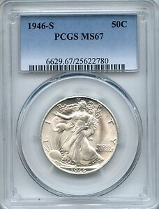 Click now to see the BUY IT NOW Price! 1946 S WALKING LIBERTY HALF DOLLAR PCGS MS67   50C  25622780