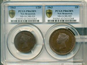 Click now to see the BUY IT NOW Price! 1843 NEW BRUNSWICK 1D AND 1/2D PROOF  PCGS PR63BN