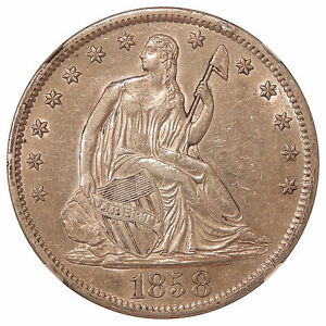 Click now to see the BUY IT NOW Price! 1858 S 50C NGC AU 55 WB 103 MISPLACED DATE   NEAT SEATED LIBERTY HALF DOLLAR