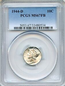 Click now to see the BUY IT NOW Price! 1944 D MERCURY DIME PCGS MS67FB   FULL BANDS 10C  33480534