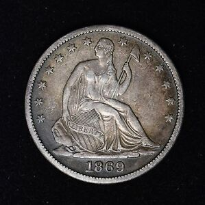 Click now to see the BUY IT NOW Price! 1869 S 50C SEATED LIBERTY SILVER HALF DOLLAR BEAUTIFUL TONED US TYPE COIN