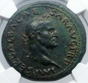 Click now to see the BUY IT NOW Price! GALBA 68AD SESTERTIUS NGC CERTIFIED XF  AUTHENTIC ANCIENT ROMAN COIN I60510