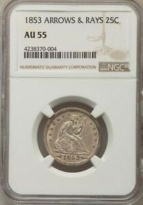 Click now to see the BUY IT NOW Price! 1853 25C ARROWS AND RAYS AU55 NGC
