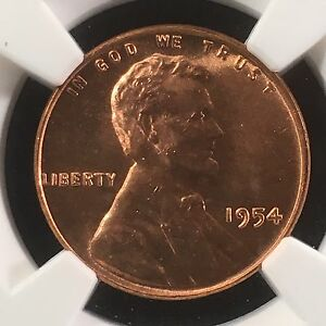 Click now to see the BUY IT NOW Price! 1954 1C RD LINCOLN WHEAT ONE CENT NGC MS67RD                     4230514 003C
