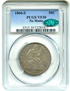 Click now to see the BUY IT NOW Price! 1866 S 50C PCGS/CAC VF30  NO MOTTO   DATE   LIBERTY SEATED HALF DOLLAR