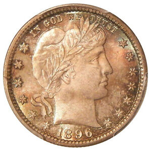 Click now to see the BUY IT NOW Price! 1896 25C PCGS MS 67   POP TOP BARBER QUARTER PICTURED ON COIN FACTS     GRCON