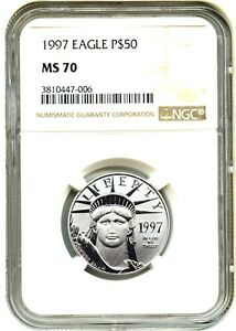 Click now to see the BUY IT NOW Price! 1997 PLATINUM EAGLE $50 NGC MS70   STATUE LIBERTY 1/2 OZ