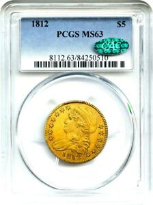 Click now to see the BUY IT NOW Price! 1812 $5 PCGS/CAC MS63   SILKY LUSTER   EARLY HALF EAGLE   GOLD COIN