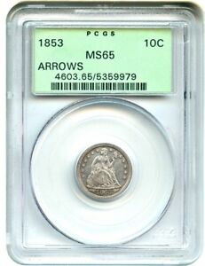 Click now to see the BUY IT NOW Price! 1853 10C PCGS MS65  ARROWS OGH  GREAT TYPE COIN OLD GREEN LABEL HOLDER