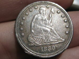 1880 SEATED LIBERTY QUARTER  XF OBVERSE DETAILS