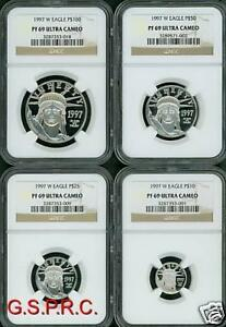 Click now to see the BUY IT NOW Price! 1997 W 4 COINS SET $100 $50 $25 $10 PROOF PLATINUM EAGLE NGC PR69 PF69