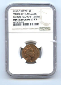 Click now to see the BUY IT NOW Price! 1990 GREAT BRITAIN TWOPENCE STR ON SMALLER PLANCHET BRONZE 2.85 GRAMS NGC MS6//