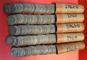 Click now to see the BUY IT NOW Price! 5 ROLLS   WASHINGTON SILVER QUARTERS   1962 D   1963   1963 D   1964   1964 D