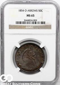 Click now to see the BUY IT NOW Price! 1854 O SEATED LIBERTY HALF DOLLAR NGC MS 65    THIS HIGH GRADE BETTER DATE
