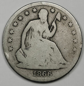 1866 S SEATED LIBERTY HALF.  GOOD OBVERSE.  A.G. REVERSE.  95453