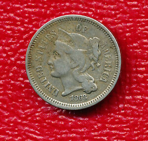 1868 THREE CENT NICKEL   NICELY TONED TYPE COIN