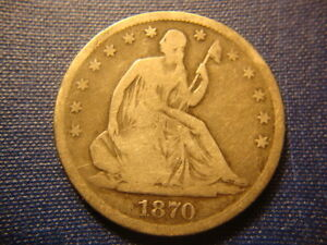 1870 S FULL DATE RIMS SEATED LIBERTY HALF DOLLAR DECENT COIN