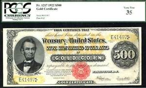 Click now to see the BUY IT NOW Price! 1922 $500 GOLD CERTIFICATE FR1217  PCGS 35 POP 1 OF 1 WITH TWO HIGHER