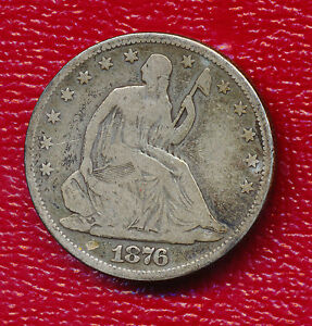 1876 SEATED LIBERTY SILVER HALF DOLLAR   NICE CIRCULATED COIN