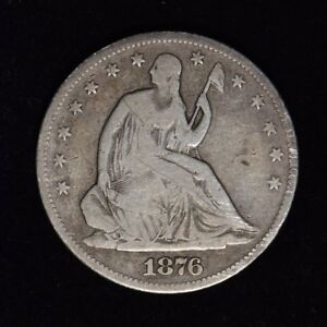 1876 S 50C SEATED LIBERTY SILVER HALF DOLLAR NICE CIRCULATED US TYPE COIN