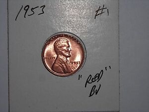 WHEAT PENNY 1953 GREAT RED  BU 1953 P LOT 1 LINCOLN CENT UNC. RED LUSTER